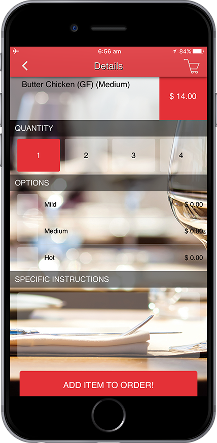 Business App Page Food Ordering