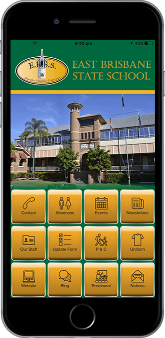 East Brisbane State School Mobile App powered by App City