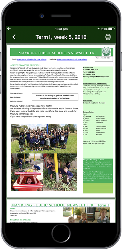 School App Page Newsletter